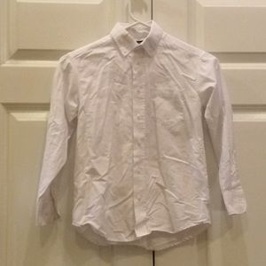 Boys Chaps Button Down Shirt 8 Barley Used White